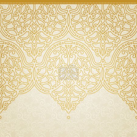 Illustration for Vector seamless border in Eastern style. Ornate element for design and place for text. Ornamental lace pattern for wedding invitations and greeting cards. Traditional golden decor on light background. - Royalty Free Image