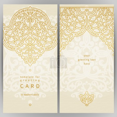 Illustration for Vintage ornate cards in oriental style. Golden Eastern floral decor. Template frame for greeting card and wedding invitation. Ornate vector border and place for your text. - Royalty Free Image