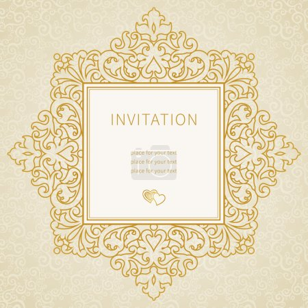 Illustration for Vector lace frame in Eastern style. Ornate element for design and place for text. Gold ornamental pattern for wedding invitations and greeting cards. Traditional outline decor. - Royalty Free Image