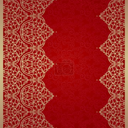 Illustration for Vector seamless border in Eastern style. Ornate element for design and place for text. Ornamental lace pattern for wedding invitations and greeting cards. Traditional golden decor on red background. - Royalty Free Image