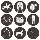 Set of vector icons with dressage equipment High quality equestrian illustration including everythig you need for dressage competition - saddle spurs horse pad whip and other horse gear
