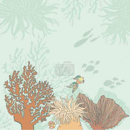 Beautiful sea lafe background with corals, fish, fossils drawn i
