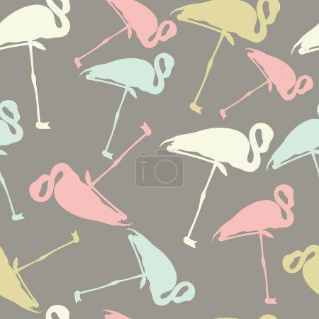 Geometric seamless texture with colored flamingos. Cartoon bird