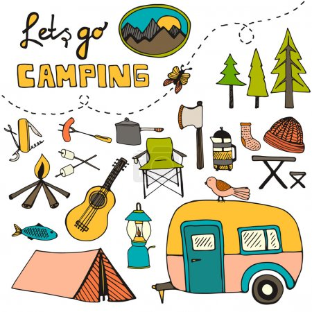 Illustration for Cute hand drawn seamless pattern with camping gear - Royalty Free Image