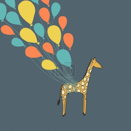 Illustration for Cute hand drawn giraffe flying on the balloons - perfect newborn announcement card or happy birthday card template made in vector. - Royalty Free Image