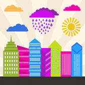 Artistic illustration of a modern city in bright colors Vector cityscape Modern city district Perfect for banners infographic and web design All objects are grouped for easy editing