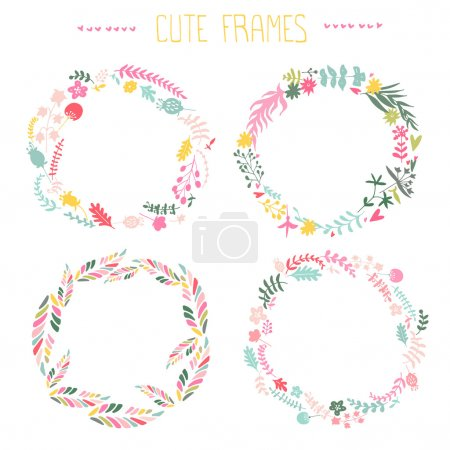 Illustration for Set of vector floral frames. Cute collection of wreaths made of hand drawn leaves and flowers. Vintage set for invitations. save the date cards and other design - Royalty Free Image
