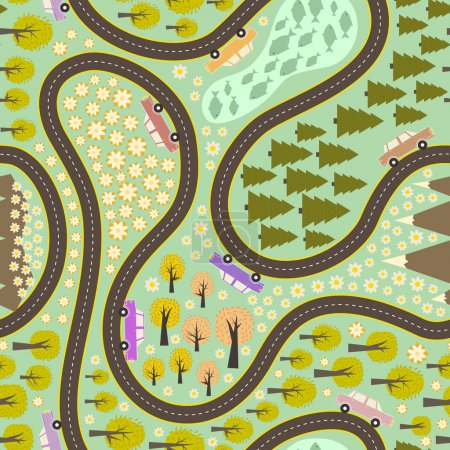 Illustration for Seamless pattern with road, colorful cars and beautiful nature around. Road trip pattern. Trees, mountains, lake and lots of flowers on the background made in vector - Royalty Free Image