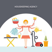 Busy housekeeper simultaneously doing many tasks around the house House work concept illustration made in vector Young pretty girl doing house work Vector character Illustration of housekeeping agency