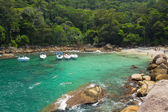 Panoramic view of cove of small hidden beach