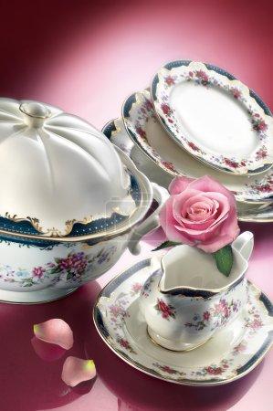 Porcelain dinner set  with rose