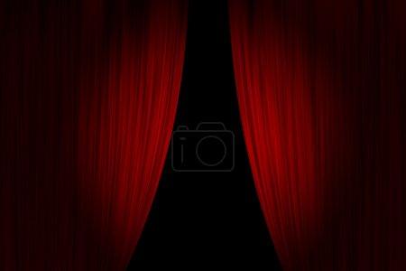Foto de Cortinas de teatro rojo abrieron - Imagen libre de derechos