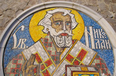 Photo for Saint Nicholas Mosaic - patron saint of sailors, port Varna, Bulgari - Royalty Free Image