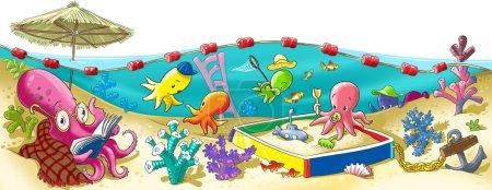Foto de Pulpo jardín infantil alegre en el fondo del mar - Imagen libre de derechos