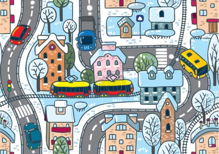 Illustration for Seamless vector background winter pattern with roads, streets, railway, houses and trees - Royalty Free Image