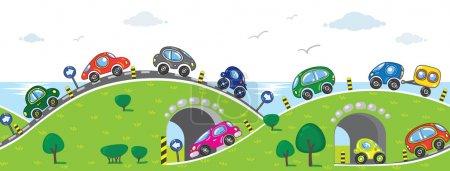 Illustration pour Modèle horizontal sans couture avec des voitures, allant à la mer avec des ascenseurs, des pentes et des arches - image libre de droit