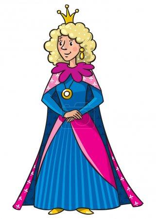 Illustration pour Belle reine ou princesse en robe médiévale, la couronne et le manteau, avec de longs cheveux bouclés blonds - image libre de droit