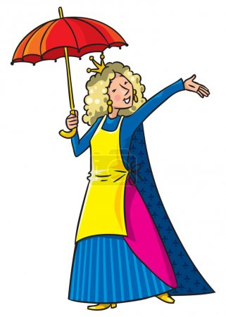 Illustration pour Belle femme chanteuse heureuse en couronne avec parapluie et tablier. Illustration vectorielle enfants . - image libre de droit