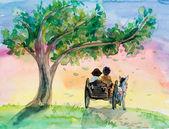 Dívka a muž na vozidle. Oslík má štěstí na vozík