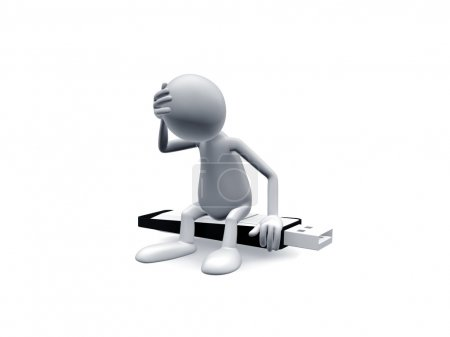 Photo pour Homme assis sur une clé USB de mauvaise humeur . - image libre de droit