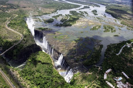 The Victoria Falls from air in Zimbabwe....