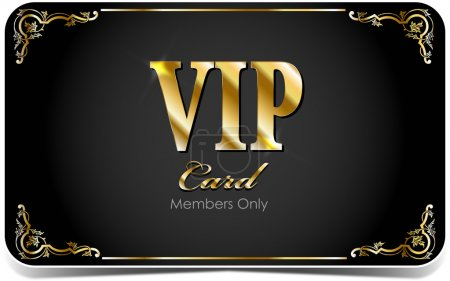Elegant VIP card with golden floral elements
