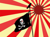 Black and white pirate flag on a pole with a crow on top The skull has a heart shaped eye There is a red and yellow background