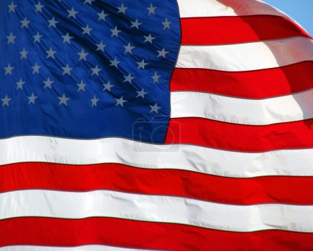 Photo for The United States of America flag blowing in the wind - Royalty Free Image