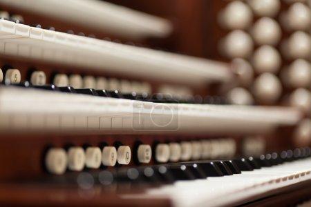 Close up view of a church pipe organ....