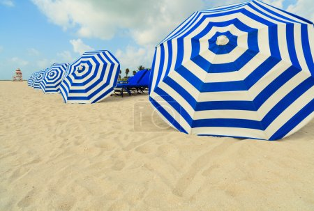 Photo for Colorful striped beach umbrellas along the the shoreline in Miami Beach. - Royalty Free Image