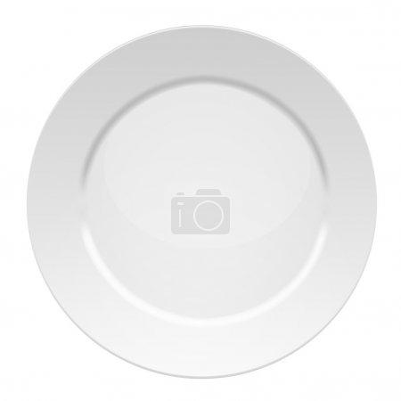 Illustration for Vector illustration of blank white dinner plate - isolated on white background - Royalty Free Image