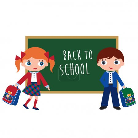 Schoolchildren with schoolbags. Back to school. Vector illustration.