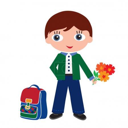 Schoolchildren with schoolbags. Back to school. Vector illustration.