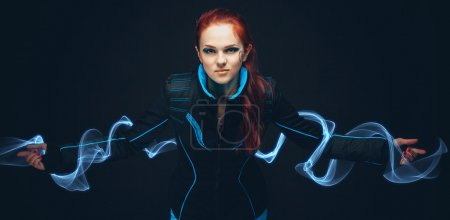 Photo for Art portrait of futuristic woman with misty blue shine - Royalty Free Image