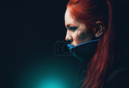 Photo for Portrait of futuristic women with cyan shyne - Royalty Free Image