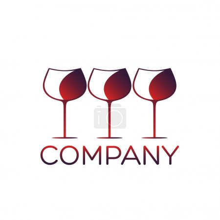 Glass of wine logo design template
