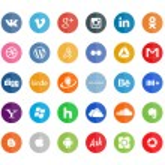 50 social icons, flat...