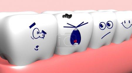Photo pour Pleurer dents endommagées et dents saines près de lui - image libre de droit