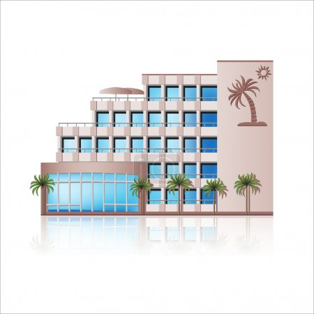 Illustration for Icon hotel: rest, sea, sun, palm trees. - Royalty Free Image