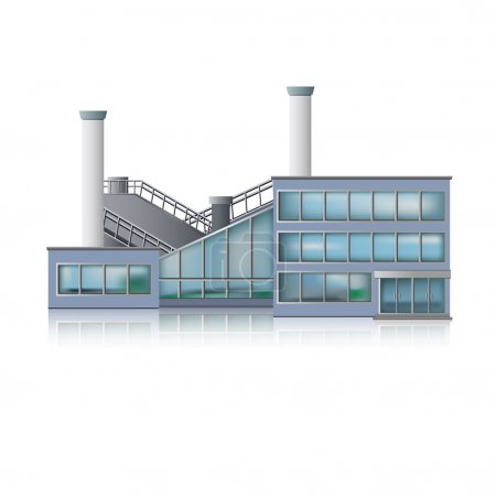 Illustration for Icon Factory and office building. - Royalty Free Image