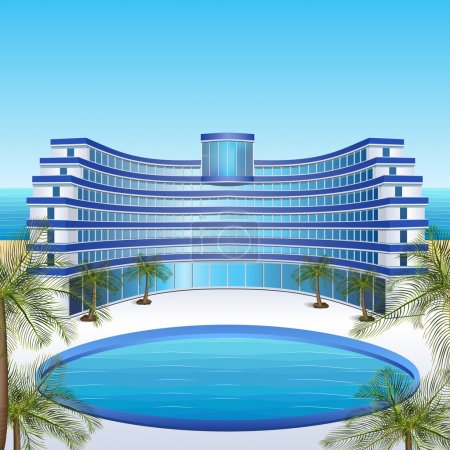 Illustration for Icon hotel with blue balconies, sea, sun, palm trees - Royalty Free Image