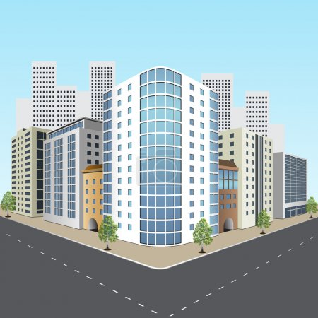 Illustration for Street of the city with office buildings in perspective - Royalty Free Image