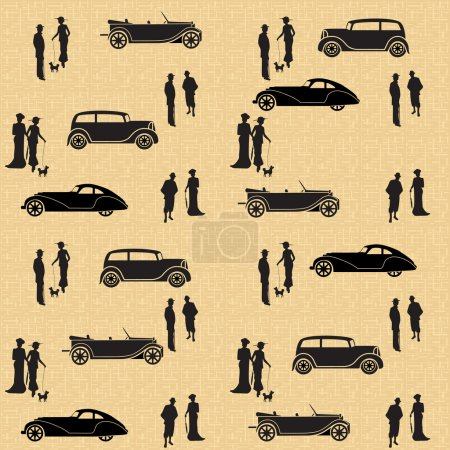 Illustration for Vintage seamless pattern with cars and people on a brown background - Royalty Free Image