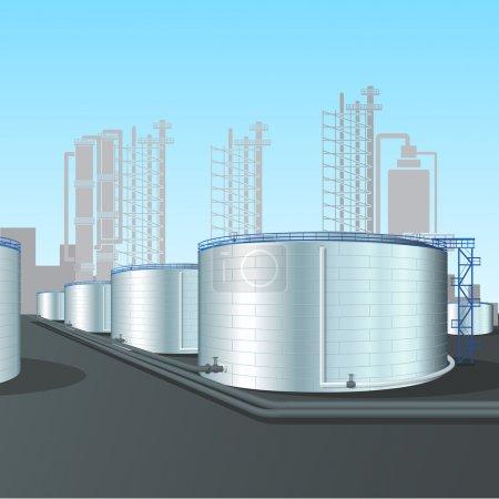 Illustration pour Parc de réservoirs de raffinerie avec pipelines, installations et ombres - image libre de droit