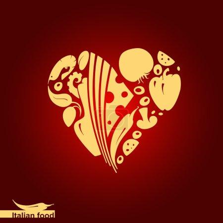 Italian food - heart shape with vector food icons