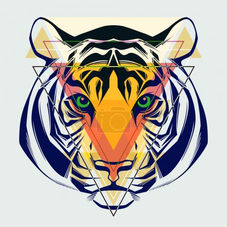 Illustration for Fashion illustration of tiger head. - Royalty Free Image