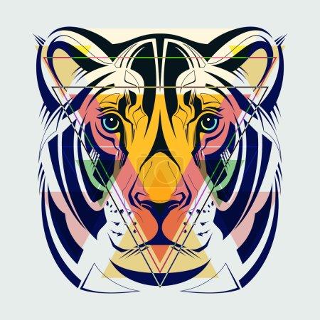 Fashion illustration of lioness head.
