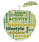Conceptual illustration of tag cloud containing words related to healthy lifestyle in the shape of an apple