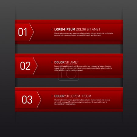 Set of three red banners - options - infographics