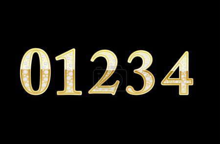 Set of shiny golden 1-4 numbers with diamonds